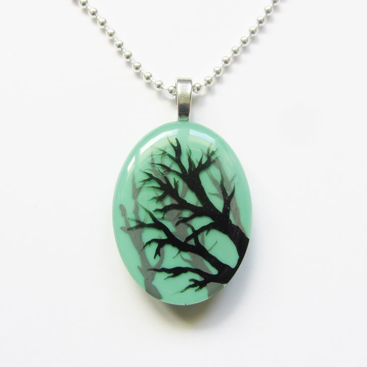 Image of Tree Shadow Resin Oval Pendant