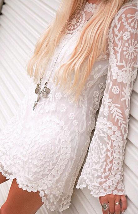 Image of Elegant see-through lace long sleeve dress