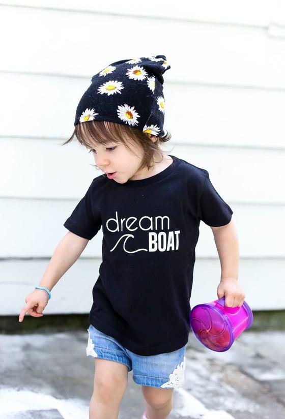 "Image of ""dreamboat"" tee (white on black)"