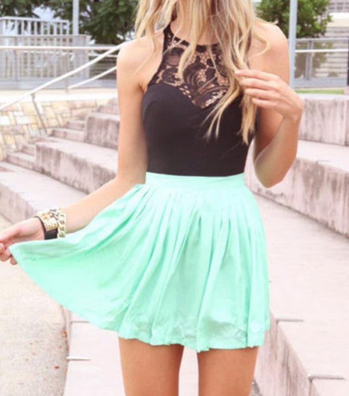 Image of Bud silk chiffon stitching dress Sleeveless party short skirt waist cultivate one's morality