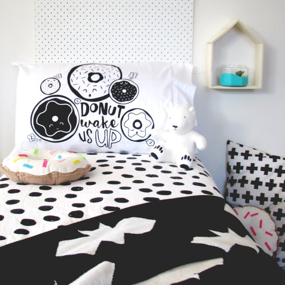 Image of 'DONUT WAKE US UP' PILLOWCASE - BLACK