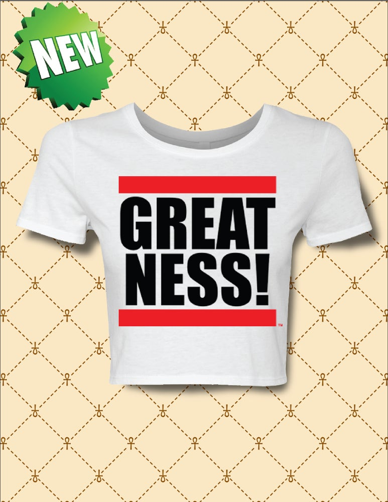 Image of WOMEN'S GREATNESS LOGO CROPPED TEE
