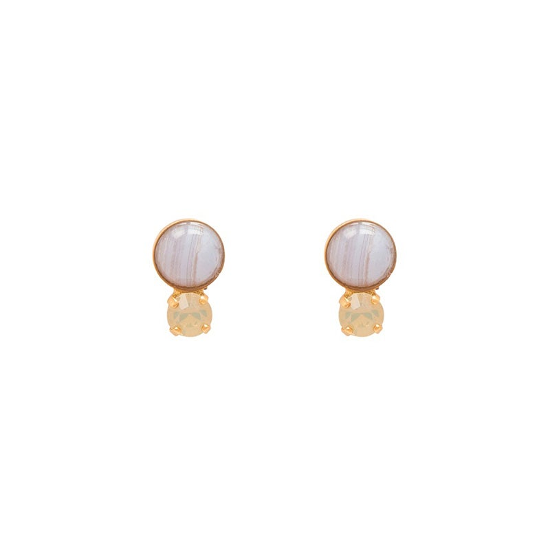 Image of Blue Lace Agate Stud Earrings
