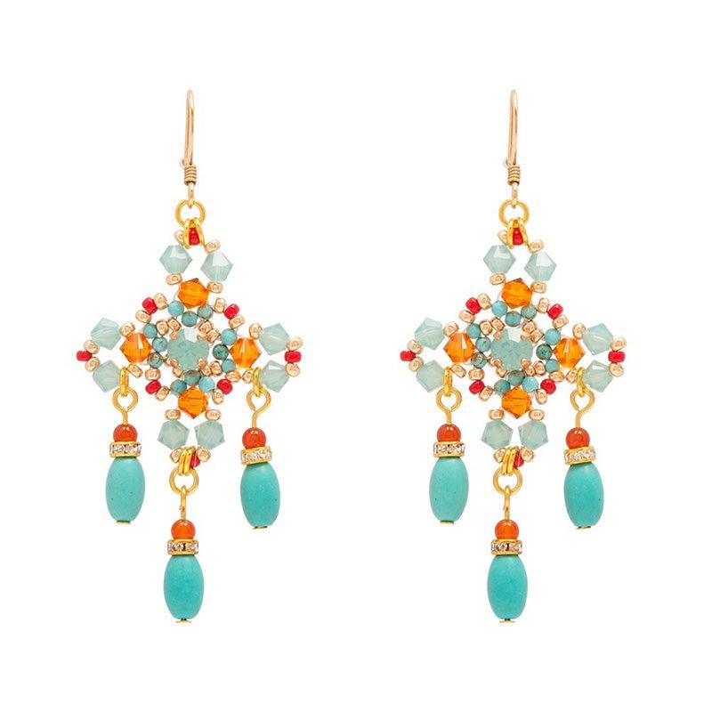 Image of Turquoise Cross Chandelier Earrings