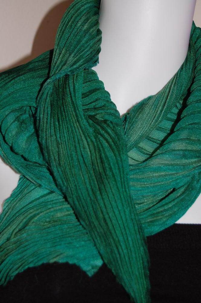 Image of Green Silk Shibori Scarf - Handpainted Silk Shibori