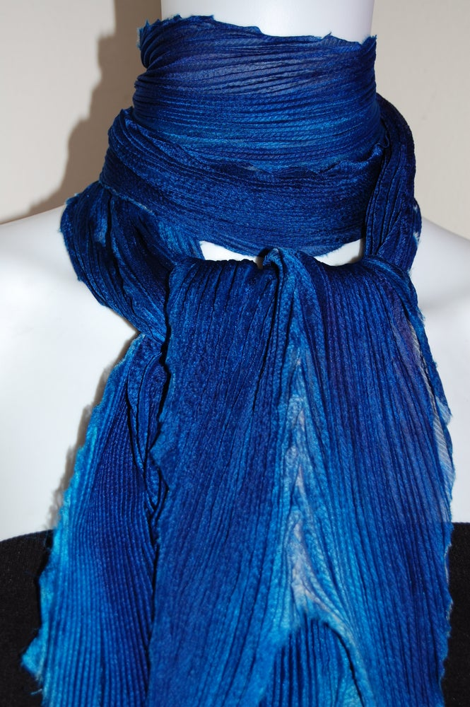Image of Blue Silk Shibori Scarf - Handpainted Silk Shibori