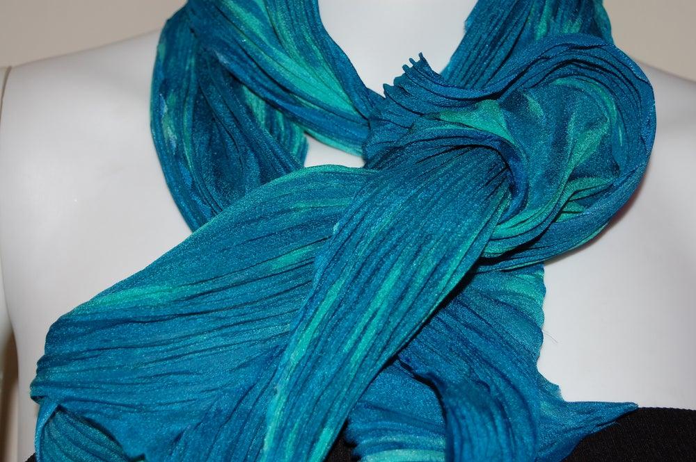 Image of Blue & Green Silk Shibori Scarf - Handpainted Silk Shibori