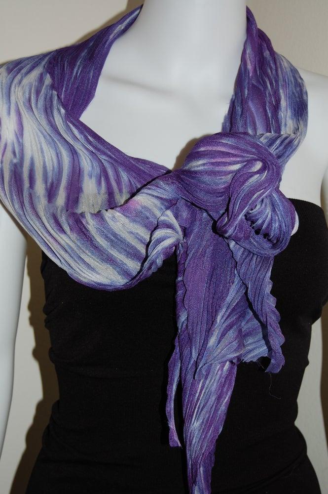 Image of Purple & White Silk Shibori Scarf - Handpainted Silk Shibori