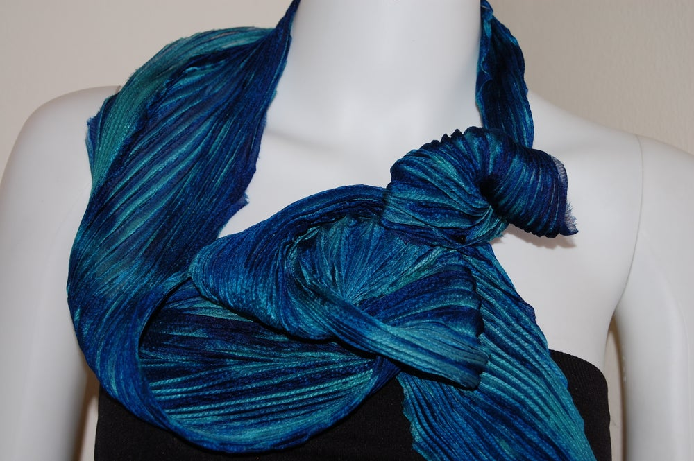 Image of Green & Blue Silk Shibori Scarf - Handpainted Silk Shibori