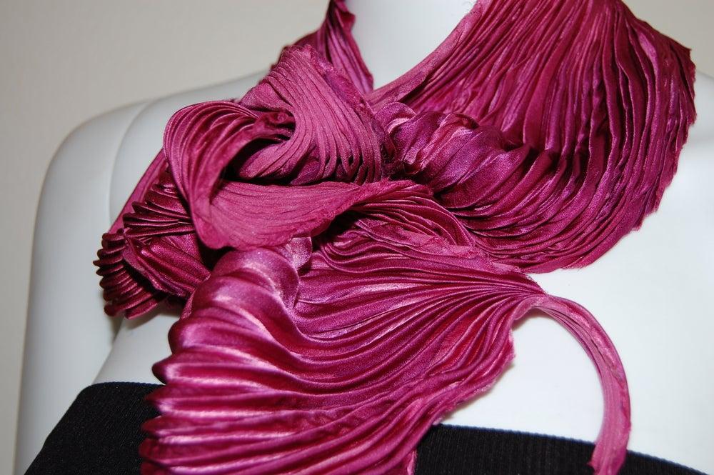Image of Cranberry Silk Shibori Scarf - Handpainted Silk Shibori