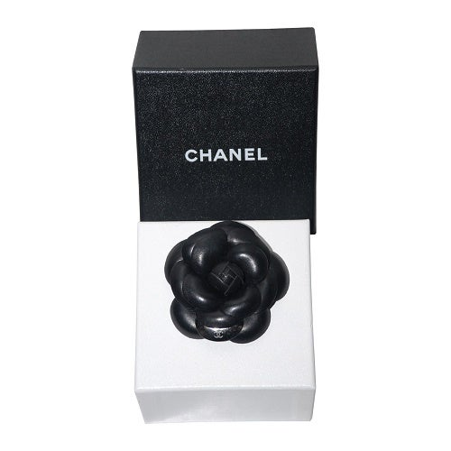 Image of SOLD OUT CHANEL AUTHENTIC BLACK LARGE CAMELIA BROOCH PIN