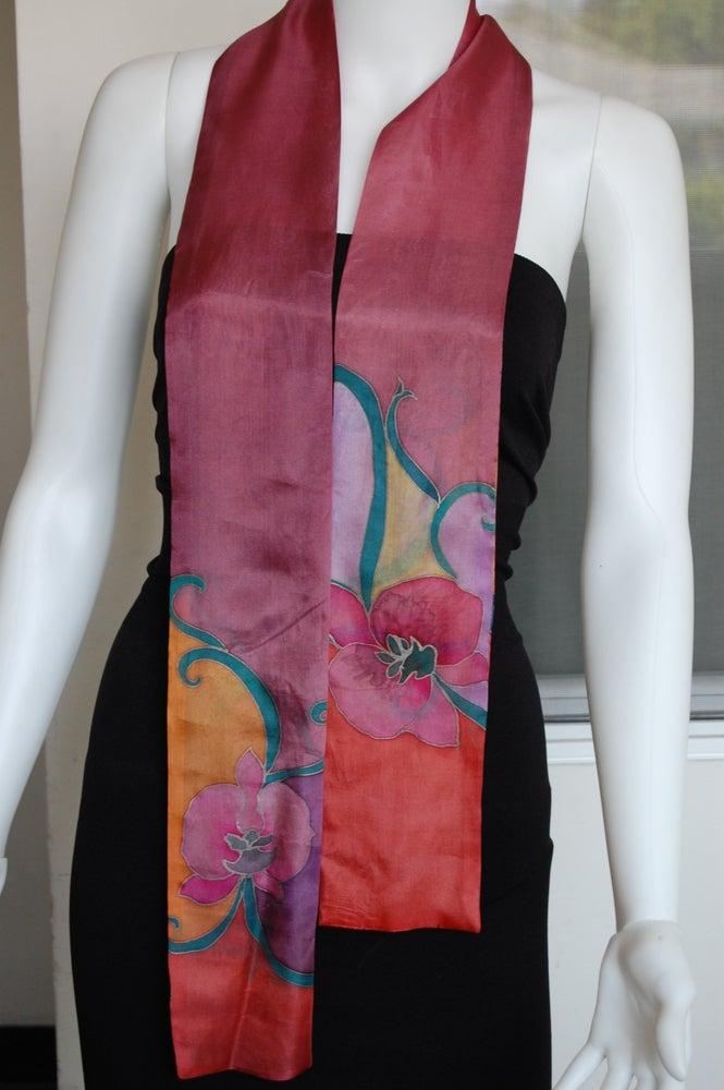 Image of Red Orange Skinny Silk Scarf - Handpainted Silk