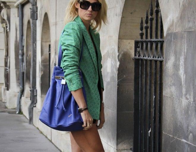 Image of Designer Leather Bucket Bag