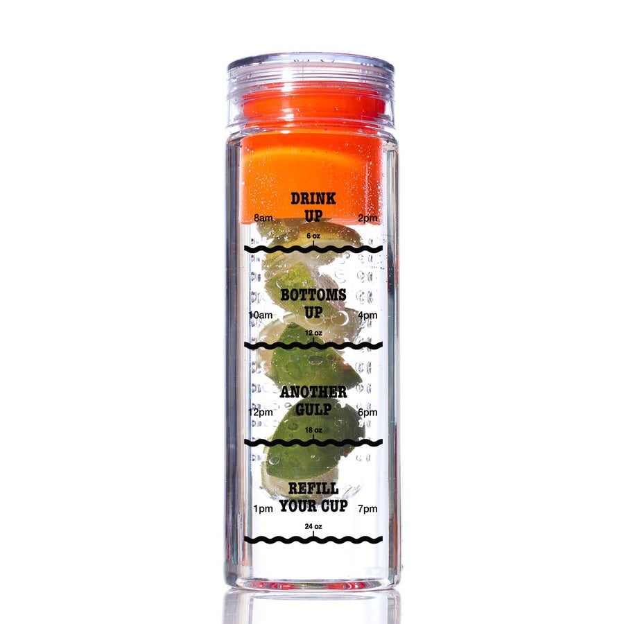 Image of Infusion Water Bottle with Drink Tracker - Orange