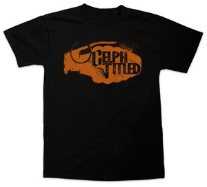 Image of Celph Titled Orange Gold Grenade Logo T-Shirt - Black Tee