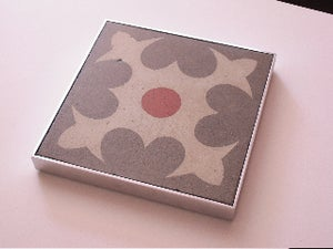 Image of Heart grey, cream and red trivet