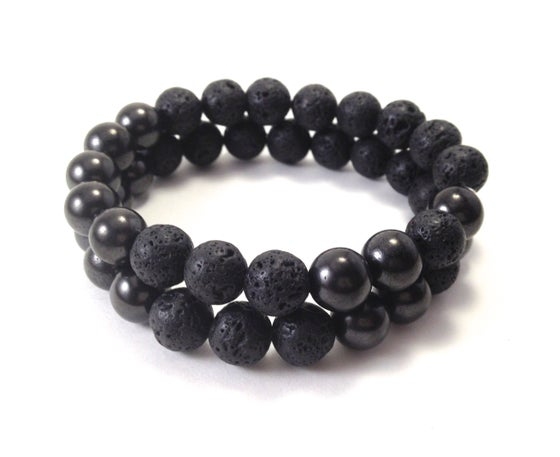 Image of Men's Infinity Shungite Wrist Mala & Bracelet with Lava