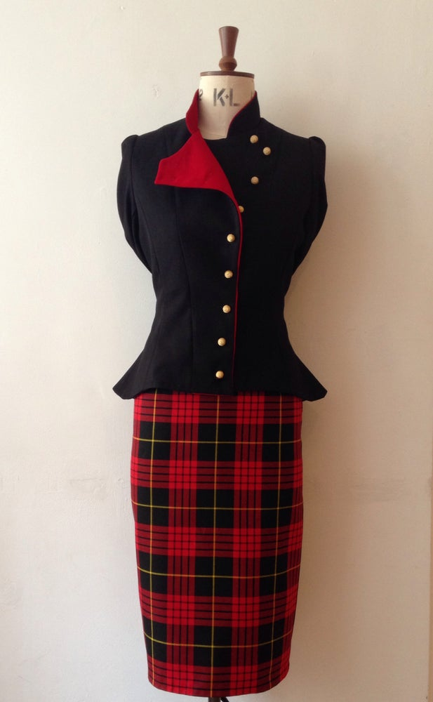 Image of Tartan high waisted pencil skirt