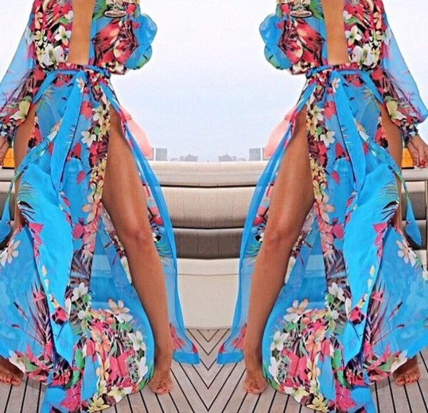 Image of CUTE FLORAL CHIFFON DRESS