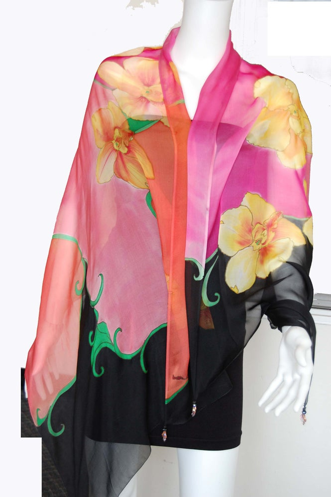 Image of Yellow Pink Silk Shawl - Handpainted Silk Shawl Made in USA