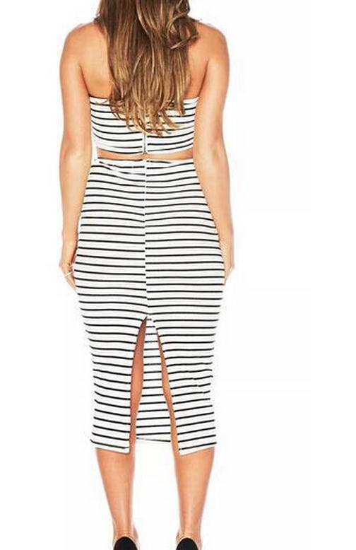 Image of TWO-PIECE STRIPE DRESS OF SPLIT LONG SKIRT THAT WIPE A BOSOM DRESS