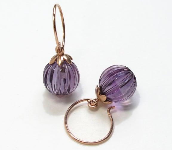 Image of Lotus Fluted Gemstone Earrings Amethyst, Prasiolite, Rose Quartz