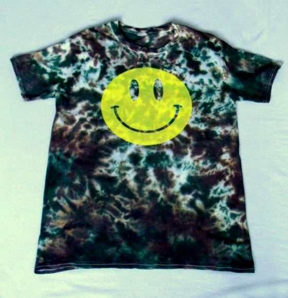 Image of Acid house smiley camo tie dye t-shirt