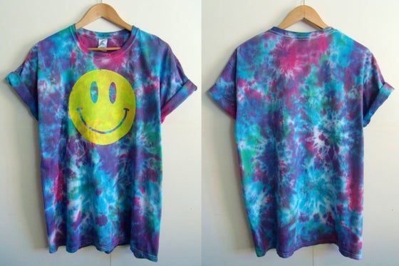 Image of Tropical acid house smiley tie dye t-shirt