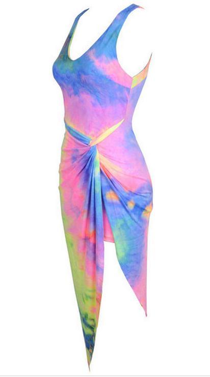 Image of Deep v-neck printing condole nightclub beach sexy backless dress