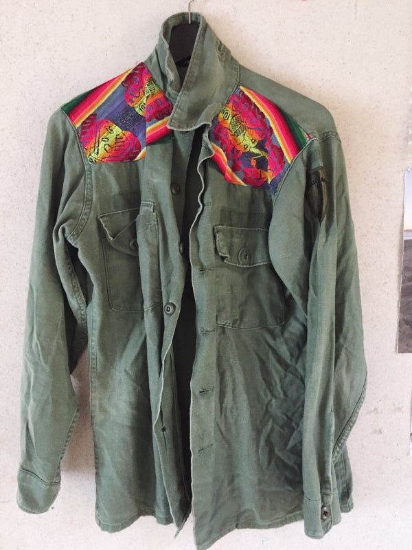 Image of Army jacket with shoulder detail