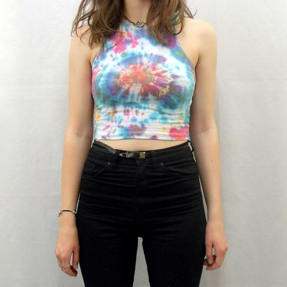 Image of Womens sleeveless fitted crop top - Coral