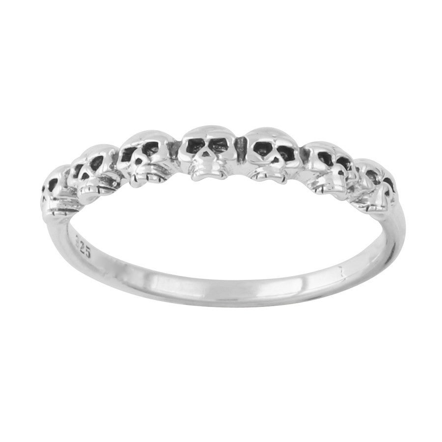 Image of Sterling Silver Tiny Skulls Stacker Ring