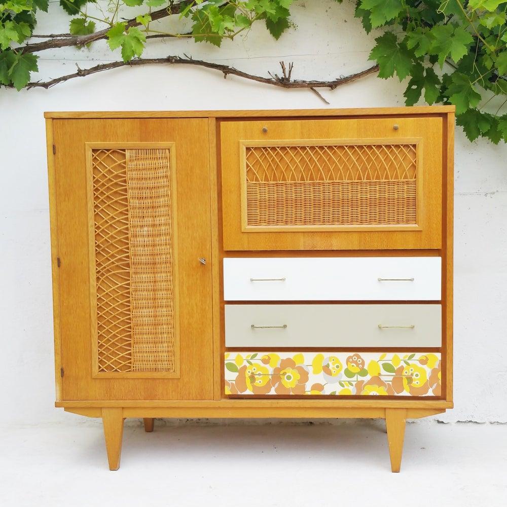 Image of Petite armoire bois rotin - Vintage