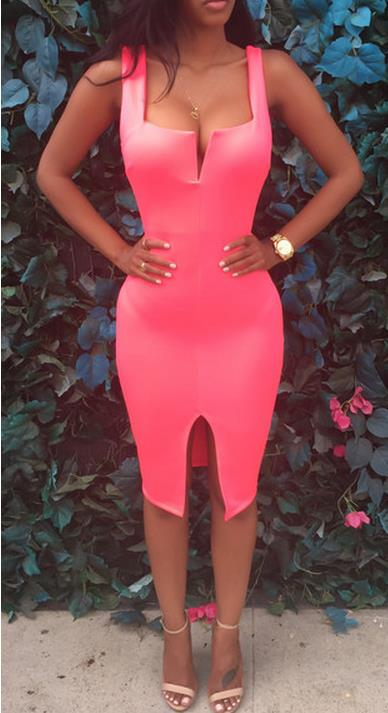 Image of Split the bandage dress Condole belt is tight DRESS