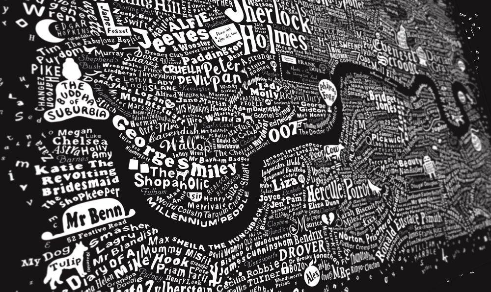 Image of Literary London Map (Metallic Silver & White, 2015)