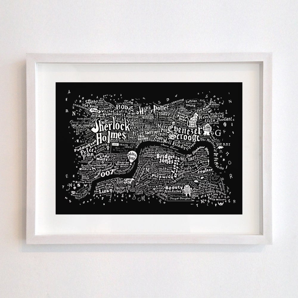 Image of Literary Central London Map (black screenprint, 2015)