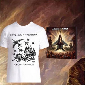 "Image of BUNDLE OFFER: ""Terror From The Air"" CD + UFO=TESLA T-SHIRT by Michel AWAY Langevin of VOIVOD"