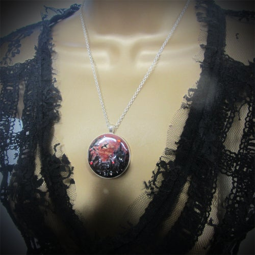 Image of Vampire's Sunset Large Round Silver Pendant