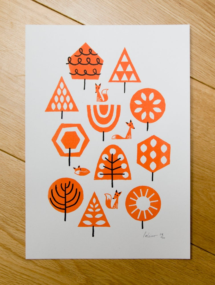 Image of Foxy Forest A4 Screenprint