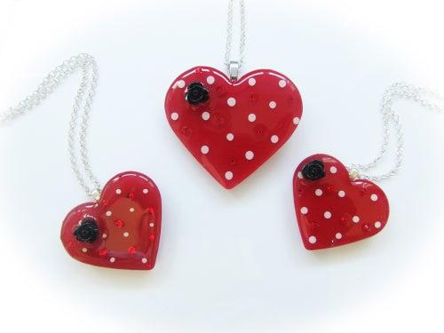 Image of Red & White Spot Retro Heart Pendant