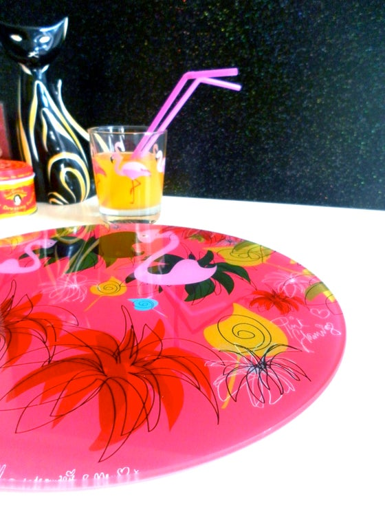 Image of PINK FLAMINGO GLASS WORKTOP SAVER OR PLATTER **AVAILABLE AGAIN IN APPROX TWO WEEKS