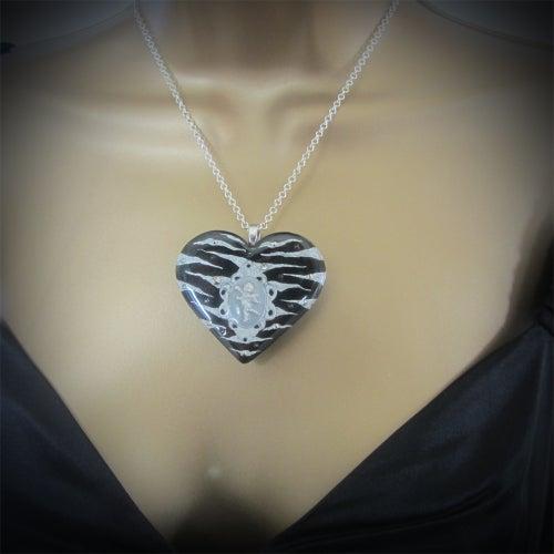 Image of Black/Silver Zebra Cameo Resin Heart Pendant