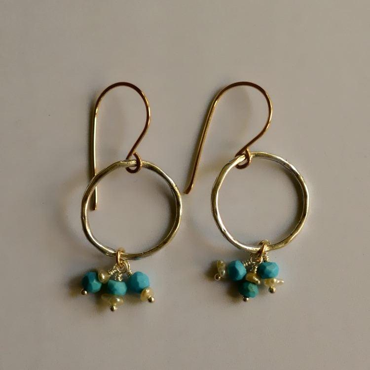 Image of Organic silver hoop earrings turquoise South Sea keshi pearls mixed metal