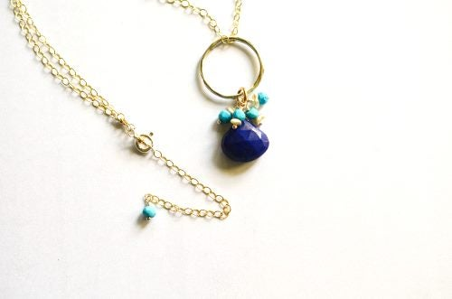 Image of Lapis lazuli necklace with turquoise and South Sea pearls mixed metal