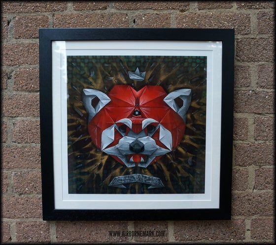 """Image of """"Origami Red Panda Third Eye Edition"""" Glicee Print - Framed"""
