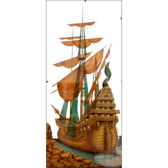Image of REBAJADO. Espejo pintado años 50 / Francia