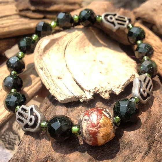 Image of Grounding ~ Nepal Antique Bead with Hamza Hand with Green Goldstone