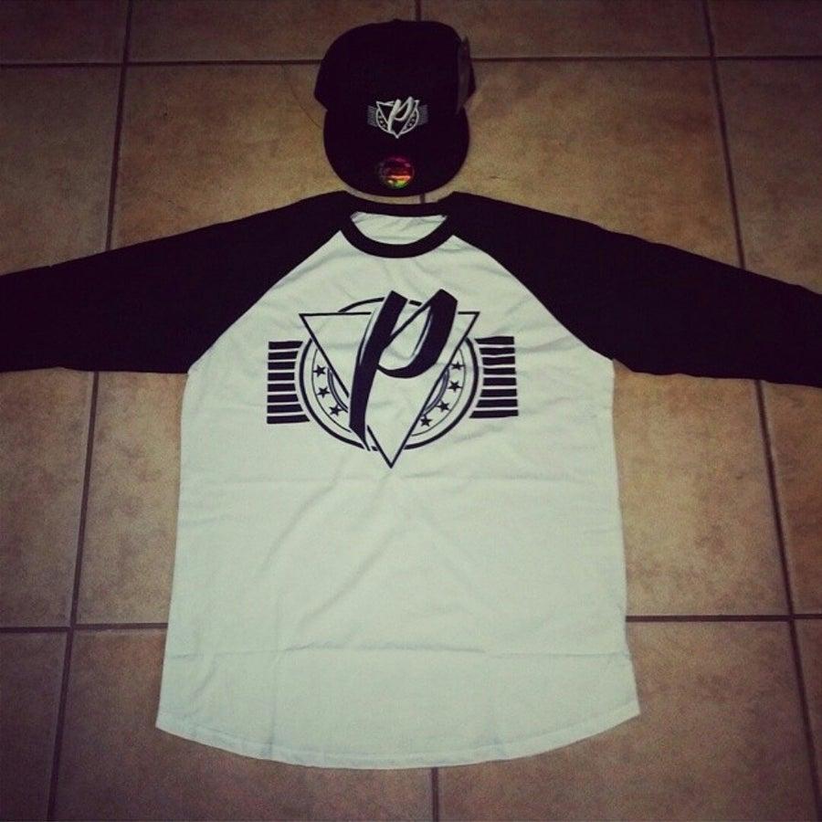 Image of P96 logo 3/4 Tee (White/Black)
