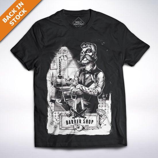 """Image of """"The barber shop"""" black t-shirt"""