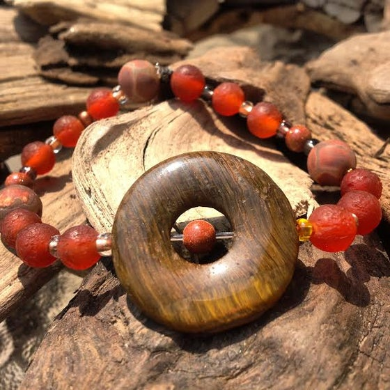 Image of Strengthen Chi Energy ~Tiger Eye and Goldstone, Tribal Agate and African Bead Bracelet